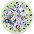 Large ENGROSSING Jim BROWN Multicolored COMPLEX Millefiori Art Glass PAPERWEIGHT
