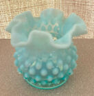 FENTON BLUE OPALESCENT HOBNAIL VASE BEAUTIFUL ART GLASS DOCUMENTED IN BOOK