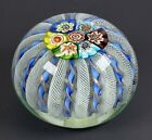 Large VINTAGE MURANO GLASS PAPERWEIGHT WITH LATTICINO RIBBON  MILLEFIORI CANES