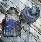 Vintage Iridescent Opalescent Rainbow Carnival Glass Canister Cookie Jar