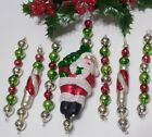 Vtg Mercury Glass Bead Icicle 7 Christmas Ornaments Red SANTA Candy Cane Mica
