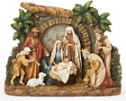 Josephs Studio by Roman Nativity Figure with Facade Christmas Scene with and