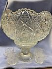 LE Smith Pressed Glass Sawtooth with Button Pattern Punch Bowl Set