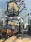 Large Oil Painting Signed Framed Ships In Harbour Swedish School