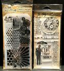 Bitty Grunge Clear Acrylic Stamps  Stencil Set Tim Holtz Stampers Anonymous Lot