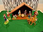 Vintage 10 Piece Made in Italy Nativity Set with Stable