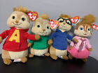 Set of 4 Ty Beanie Babies Chipmunks Alvin Simon Theodore Brittany NEW + TAGS!