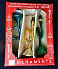 3 Vintage Glass Hand Decorated Horn Christmas Ornaments