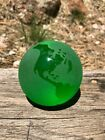 VINTAGE PAPERWEIGHT SOLID GLASS FROSTED GREEN WORLD GLOBE