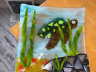Decorative Fused Glass Plate Blues Brown Green Art Under The Sea Turtle 9 1 2