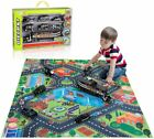 TEMI Diecast City Police Car Toy Set w Play Mat Truck Carrier SWAT Helicopter