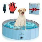 Foldable Dog Pool Made Extra Thick Hard Plastic Kiddie Pool for Kids and 32