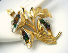 Fabulous Vintage Floral Brooch Rhinestones Glass Beads Gold Plate Unsigned DuJay