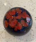 Magnificent Steven Lundberg Signed Paperweight Colbalt With Red Butterflies Rare