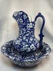 Vintage VICTORIA WARE Large Water PITCHER AND BASIN BOWL Calico Blue
