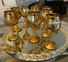 ITALIAN MURANO HAND BLOWN GLASS 24kt GOLD DECANTER SET WITH 8 WINE GLASSES