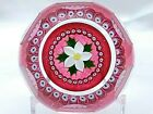 Beautiful Ruby Caithness Christmas Rose 1982 Ltd Ed Paperweight 131 307