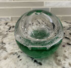 Artcristal Bohemia Crystal GLASS GREEN CONTROLLED BUBBLE FROTH 3 1 8 PAPERWEIGHT