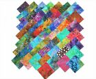 50 10 Inch Quilting Fabric Squares BEAUTIFUL BATIKS 50 DIFFERENT COLORS