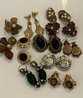 Lot of 10 CRYSTAL Cabochon GRIPOIX GLASS Clip Earrings