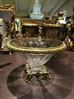 NEW Decorative Glass bowl with Brass lip and base 16 wide by 10 high
