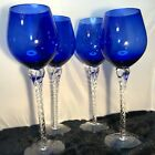 X Large Cobalt Blue Wine Glass Goblets Clear Twisted Stem 115 Tall Four 4