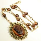Vintage Gold Tone Victorian style Amber Glass Cameo Pendant Chain Necklace
