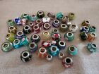 Art Glass Multicolor Beads Sterling Centers Lot Of 42