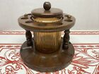 Dun Rite Vintage Wood 10 Pipe Stand Holder with Amber Glass Tobacco Jar Humidor
