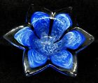 MURANO ROYAL BLUE CLEAR 6 PETAL ART GLASS FLOWER CANDLE HOLDER VASE ITALY 6