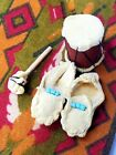 Handmade Leather Moccasin Slippers  Drum Native American Dollhouse Miniature