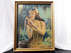 Antique Vintage Fine Art Print Native American Woman w Tanager Gold Frame 20x16