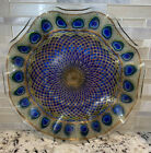 Large Sydenstricker Fused Art Glass 12 Ruffled Cake Plate