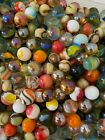 120+ Assorted Vintage Modern Glass Marbles assorted size  colors antique toy