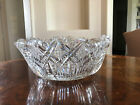 Gorgeous 1890 1910 Cut Glass Square Bowl With Scalloped Edges Starburst Bottom