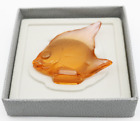 Breathtaking LALIQUE Crystal France Amber ANGEL FISH Art Glass Sculpture in BOX