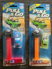 Pez Candy Dispenser Hot Wheels Pull & Go Action Dispensers On Card Red & Green