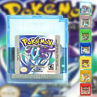 Pokemon Gold Silver Crystal Game Card GB GBC GBA Game Boy Red Yellow Blue Green