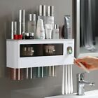 Toothbrush Holder Automatic Toothpaste Dispenser Bathroom Wall Mount Storage NEW