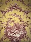 VTG 5 YARDS Waverly Home Decor Fabric La Petite Ferme Red Toile w Rooster NEW