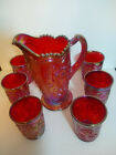 Vintage Carnival Glass Imperial Red Fieldflower Water Set with 6 Tumblers