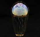 Alluring Rick SATAVA Multicolored JELLYFISH Art Glass PAPERWEIGHT with LED Base