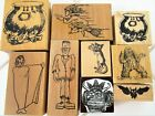 Vintage Halloween Rubber Stamp Lot Monsters Dracula Frankenstein Witch Cat Rare