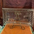Large Rectangular Heavy Crystal Platter Tray Serving or Vanity Dish 17x9