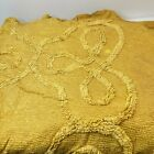 vintage chenille bedspread yellow textured king bow swirls