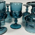 6 Vintage Indiana Glass Kings Crown Thumbprint TEAL BLUE Mid Century Goblets EUC