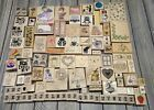 Lot of 100+ wooden rubber Stamps Animals Flowers Alphabet And More Scrapbooking