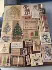 Lot of 36 Christmas Rubber Stamps