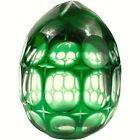 Bohemian Green glass Egg Cut to Clear Czech Crystal Hollow 3 3 4 in X 3 in