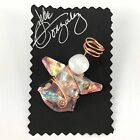 Carded Signed Angel Artist Pin Brooch Art Glass Gonzalez Iridescent Wire Halo